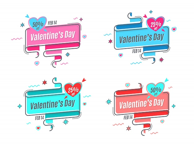 Platte lineaire promotie lint banner tot valentijnsdag, scroll