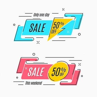 Platte lineaire promotie lintbanner, rol, prijskaartje, sticker,