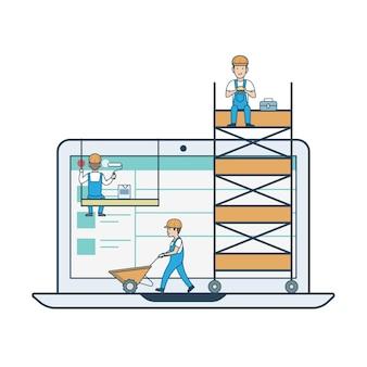 Platte lineaire webdesign ontwikkelingsconcept web vectorillustratie platte lineaire webdesign ontwikkeling