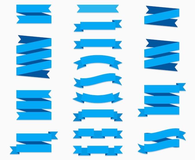 Platte linten banners plat geïsoleerd op een witte achtergrond, illustratie set van blauwe tape