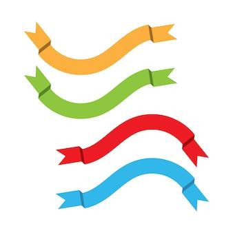 Platte linten banners plat geïsoleerd op een witte achtergrond, illustratie set