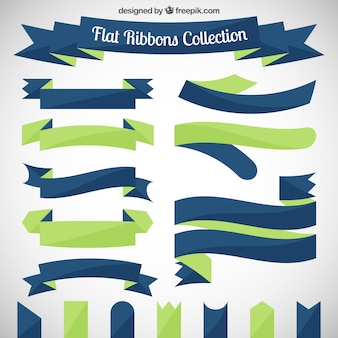 Platte linten collectie in groene en blauwe tinten