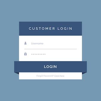 Platte login formulier ontwerp op een blauwe achtergrond
