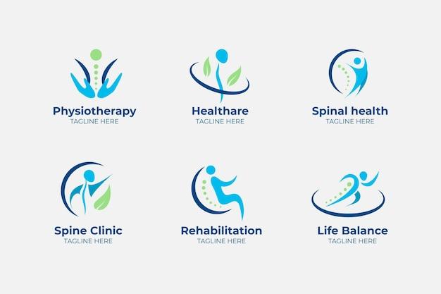 Platte logo-collectie voor fysiotherapie