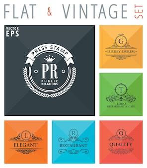 Platte logo's en emblemen met schaduweffect voor webdesign