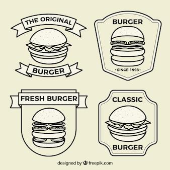 Platte logo's met verschillende soorten hamburgers