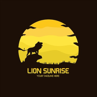 Platte logo sjabloon illustratie, leeuw zonsopgang