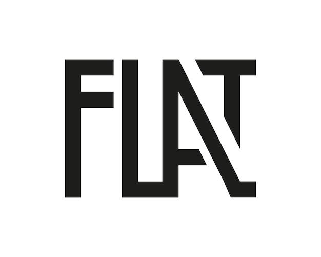 Platte logo zwart geïsoleerd op wit grafische geometrische belettering groteske letters