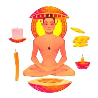 Platte mahavir jayanti illustratie