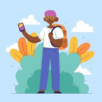 Platte man die foto's maakt met smartphone