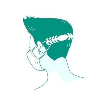 Platte man met een verstelbare medische maskerband