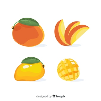 Platte mango illustratie pack