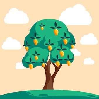Platte mangoboom met fruit en groene bladeren