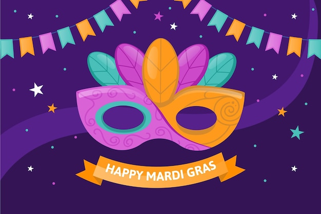 Platte mardi gras kleurrijke masker illustratie