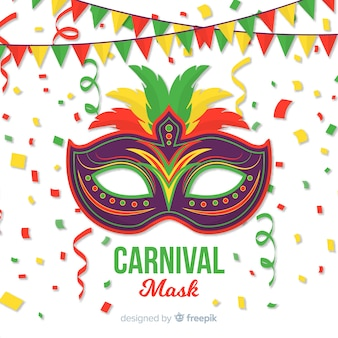 Platte masker braziliaanse carnaval achtergrond