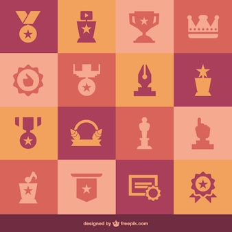 Platte medailles set van pictogrammen