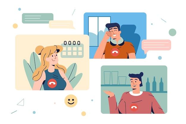 Platte medewerkers of vrienden hebben een virtuele videoconferentiegesprek
