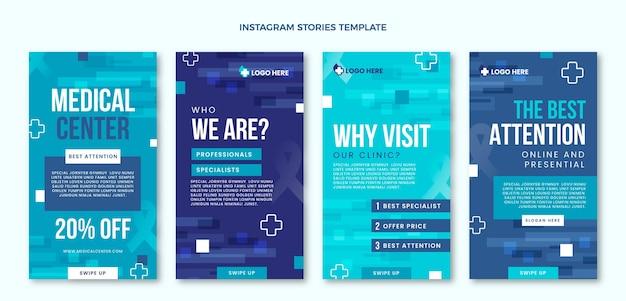 Platte medische instagramverhalen Premium Vector