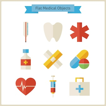Platte medische objecten set. vectorillustratie. verzameling van gezondheidszorg en geneeskunde objecten geïsoleerd over wit. gezonde levensstijl en ziekenhuis