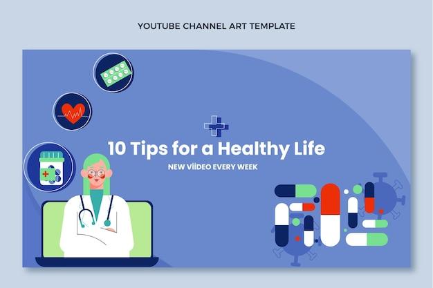 Platte medische ontwerp medische youtube-kanaalkunst