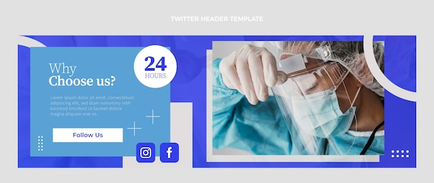 Platte medische twitter-kopsjabloon header