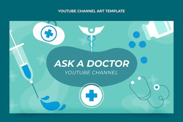 Platte medische youtube-kanaal ontwerpsjabloon