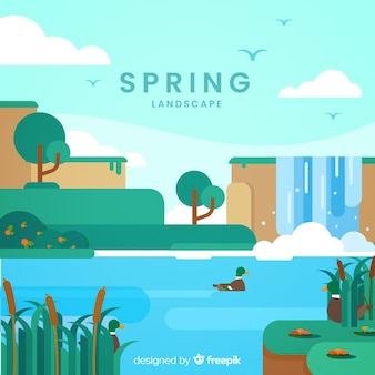 Platte meer lente achtergrond