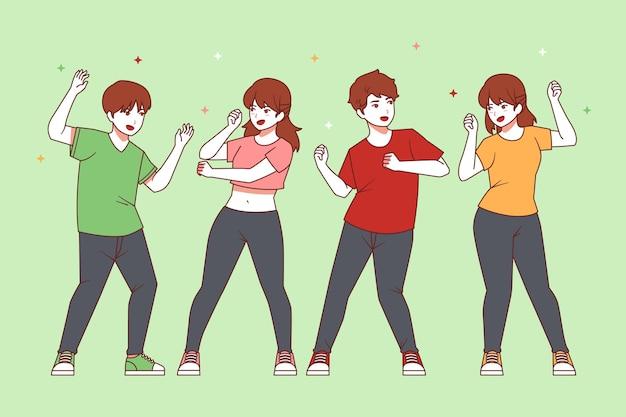 Platte mensen dansen illustratie