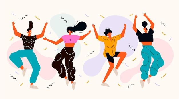 Platte mensen dansen