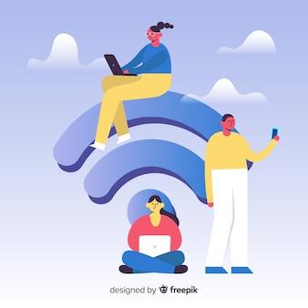 Platte mensen die een draadloos netwerk gebruiken