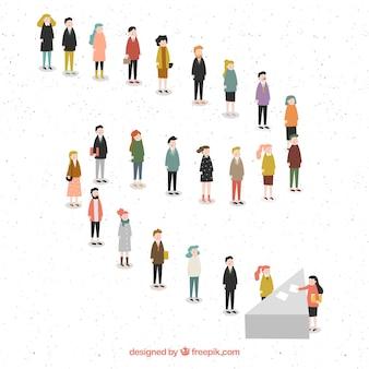 Platte mensen die een lijn vormen