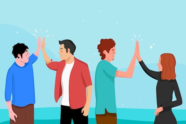 Platte mensen die high five geven