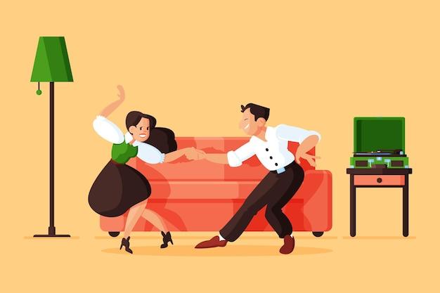 Platte mensen die samen dansen