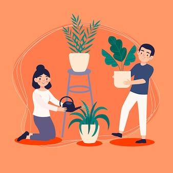 Platte mensen die samen voor planten zorgen