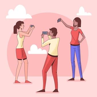 Platte mensen die selfies maken met telefoon
