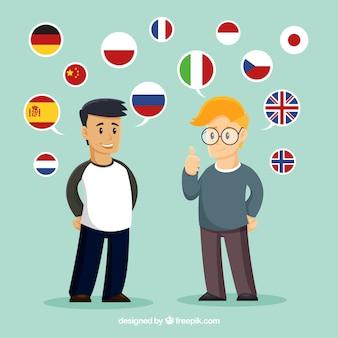 Platte mensen die verschillende talen spreken