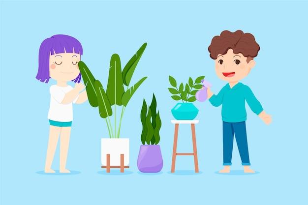 Platte mensen die voor het verzamelen van planten zorgen