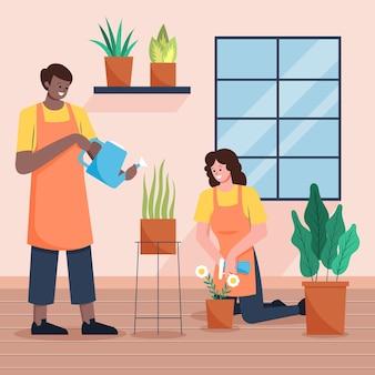 Platte mensen die voor planten binnenshuis zorgen