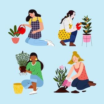 Platte mensen die voor planten zorgen