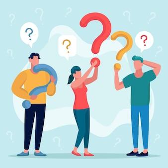Platte mensen die vragen stellen