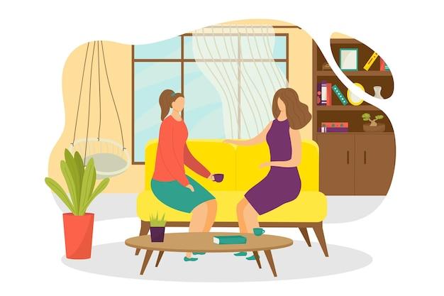 Platte mensen drinken thee thuis, vectorillustratie. vrouw vrienden karakter met koffiekopje, zittend op de bank, gesprek voeren. vrouwelijke persoon