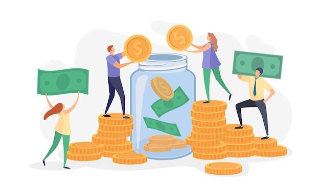 Platte mensen gooien geld, biljetten en munten in glazen pot. personages verzamelen donaties. familie- of zakelijke besparingen in bank vectorconcept