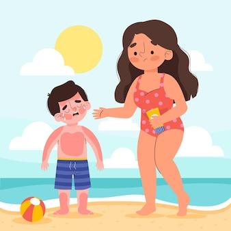 Platte mensen met een zonnebrand geïllustreerd