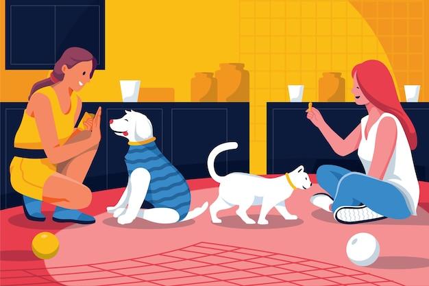 Platte mensen met huisdieren binnenshuis