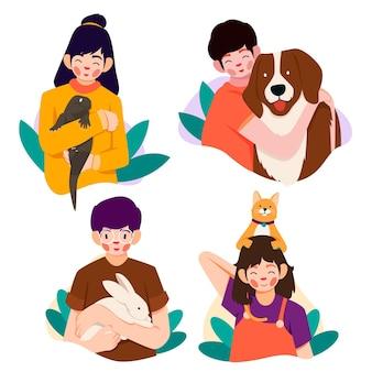Platte mensen met huisdieren collectie