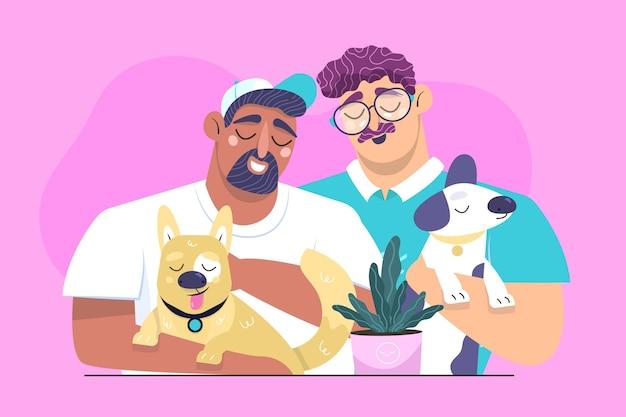 Platte mensen met huisdieren geïllustreerd