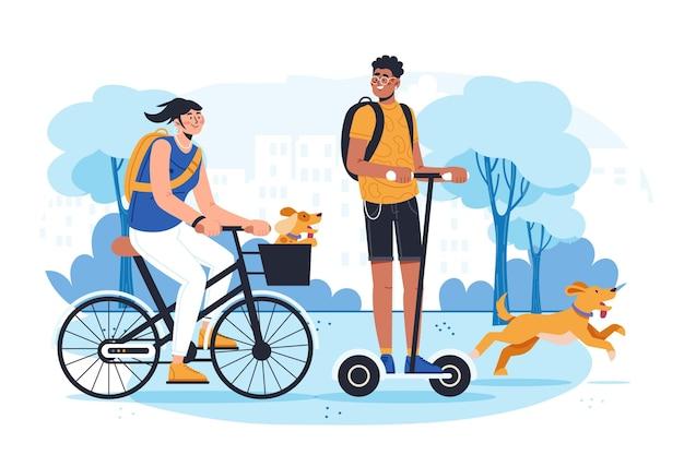 Platte mensen met huisdieren illustratie