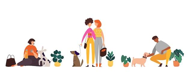 Platte mensen met huisdieren in de natuur