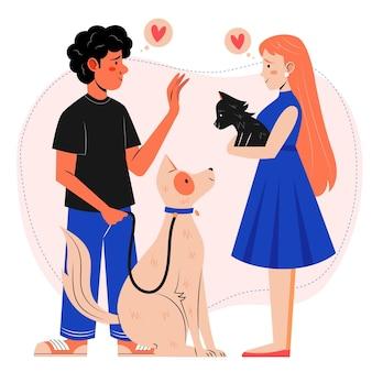 Platte mensen met schattige huisdieren