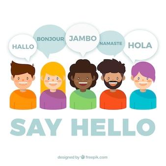 Platte mensen met tekstballonnen in verschillende talen